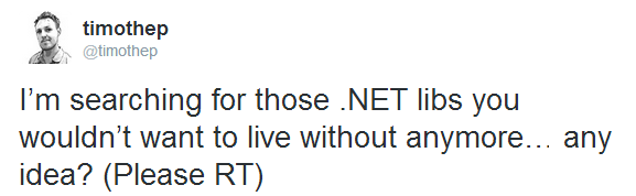 Twitter survey: all those .net libs you wouldn't want to live without anymore?
