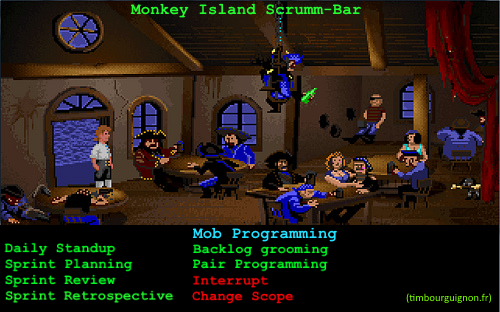 Monkey Island UI with Scumm Bar and Scrum Actions