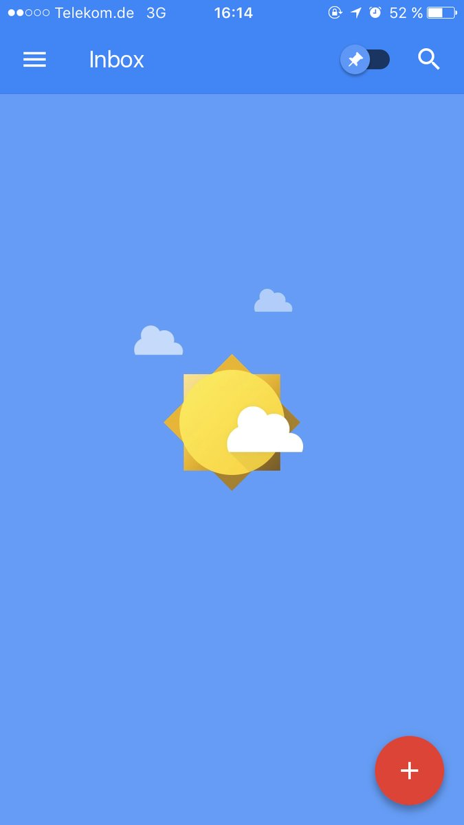 Screenshot of the Inbox by Gmail inbox-zero, a big sunny sky