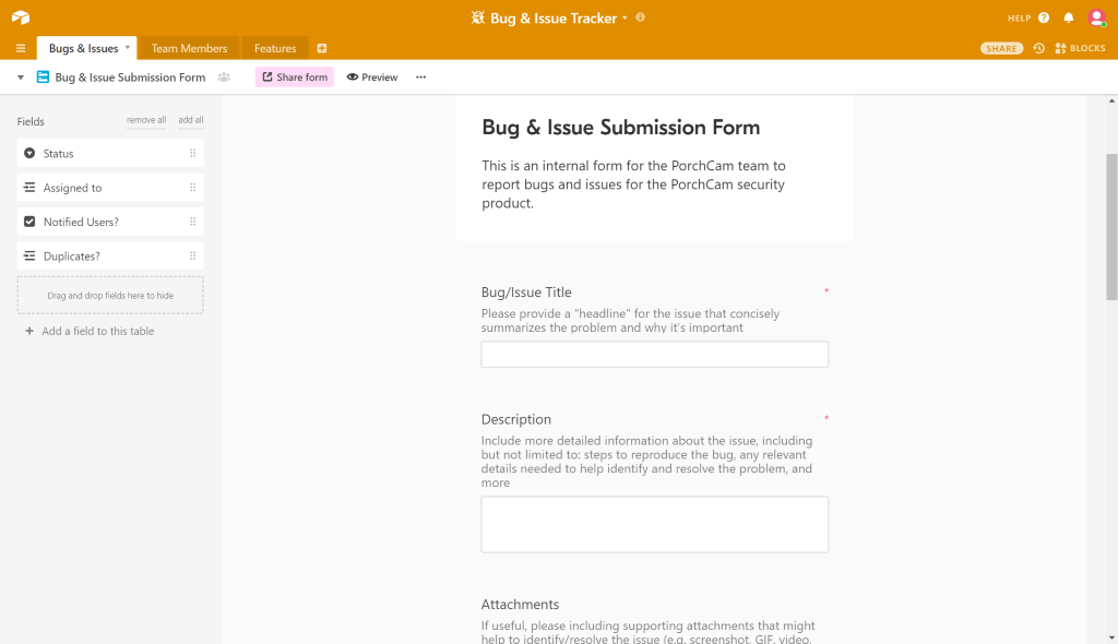 Bugtracker Form