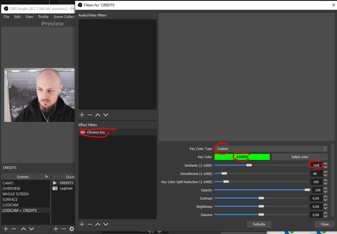 Setting up a chroma key filter in OBS